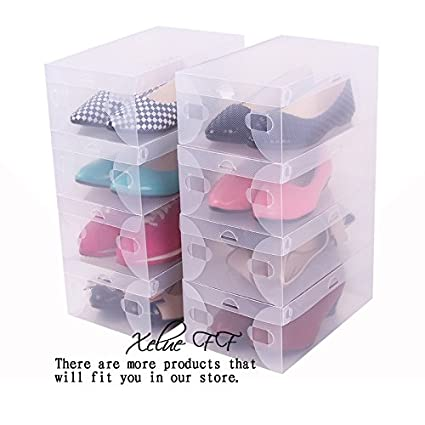Attirant 7 Pcs Foldable Clear Shoe Box Plastic Shoe Storage Containers Shoes Closet  Organization
