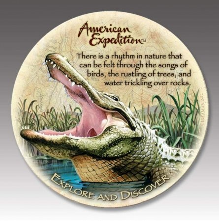 (4 American Expedition Stone Coasters Alligator)