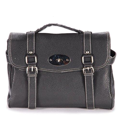Poplife Black Celebrity Shoulder Bag Metal Turn Lock Satchel Bookbag Crossbody Bag