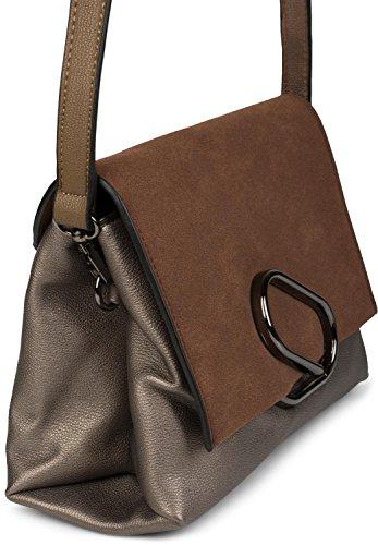 sac aspect 02012209 attaches main métalliques rabat styleBREAKER et avec Gris sac Noir à couleur bandoulière femme daim Marron Antique xqPzzO0RwI