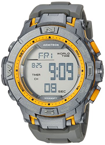 Yellow Mens Chronograph - Armitron Sport Men's 40/8410YGY Yellow Accented Digital Chronograph Grey Resin Strap Watch