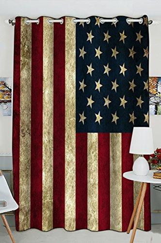 Custom American Flag Window Curtain,American Flag Grommet Bl