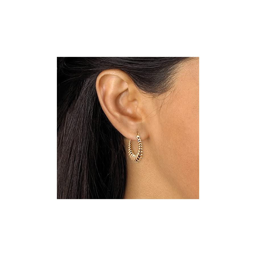 14k Yellow Gold Shrimp Style Nano Diamond Resin Filled Hoop Earrings