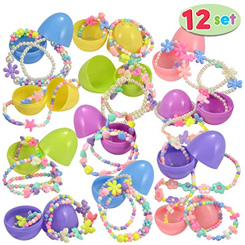 Happy Easter Gift - JOYIN 12 Pre-Filled Easter Eggs with 12 Different Designs of Necklaces and 12 Bracelets Girls Jewelry Set Easter Basket Stuffer Prefilled Easter Egg for Girls