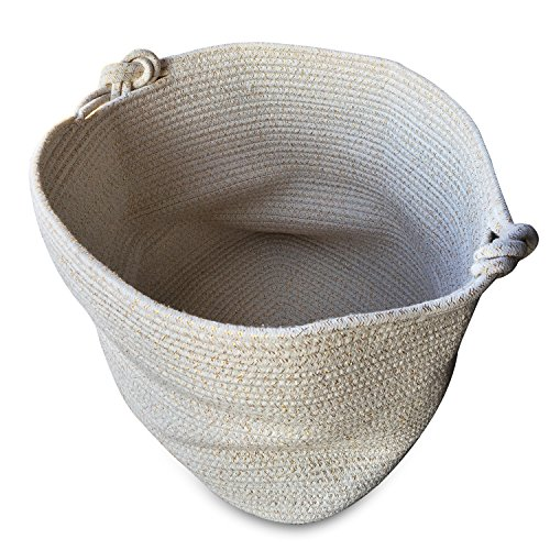 Magic Solutions Large Cotton Rope Storage Basket 15 by 15 by 13 inches for Toy Storage (White Gold)