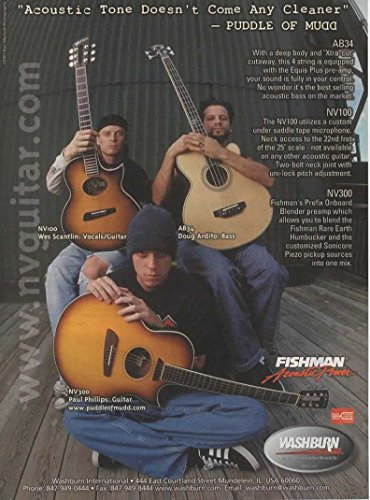 Magazine Print ad: 2002 Washburn NV300 NV100 AB34 Acoustic Bass Guitars with Puddle of Mudd-Wes Scantlin, Paul Phillips, Doug Ardito