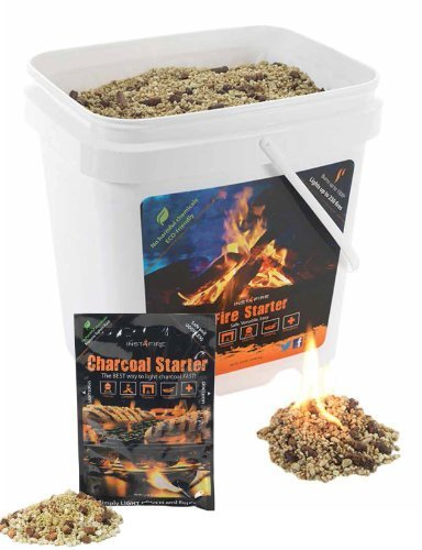 Instafire Charcoal Briquette Fire Starter Pouches for Grills, Smokers, More - Chemical Free, Awarded 2011 Innovative Product Of The Year, 2-Gallon Bucket by Instafire