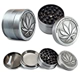 Metal Stainless Steel Coin Shape Pattern 1.5 Inch 4 Piece Herbal Spice Herb Tobacco Grinder Smoke Cigar Silver