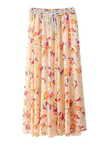 Haililais Femme Jupe Longue Floral Vintage Jupe De Plage Big Swing Jupe Mousseline BohMe Ample Femelle Skirt Lacets Grande Taille Jupe Pink