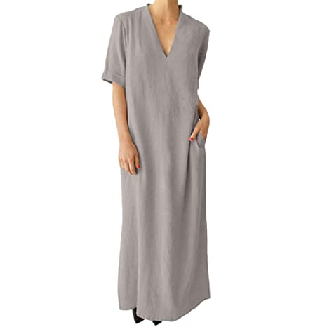 Women\'s Plus Size Casual Loose Cotton Linen Dresses, AmyDong Summer Short  Sleeve V Neck Side Slit Maxi Dress