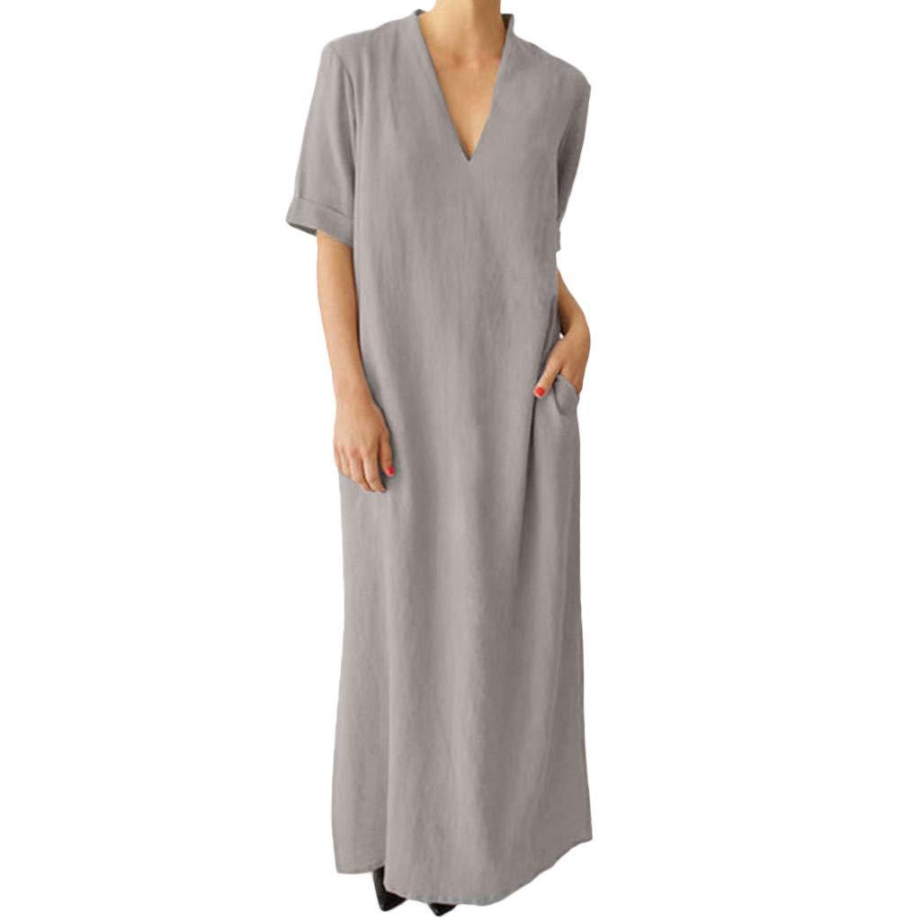 Goosuny Damen Leinen Sommer Kleider Kurzarm Maxikleider V Ausschnitt Kleider Einfarbig Leinenkleid Strandkleid Lang Kleid Mit Taschen