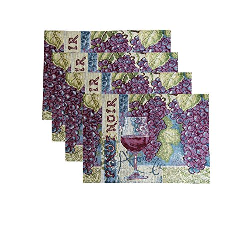 - Better Homes & Gardens Tapestry Placemats 18-inch X 13-inch, Set of 4 (Pinot Noir Wine Grapes)