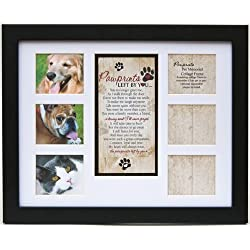 "Pet Memorial Collage Frame for Dog or Cat with Sympathy ""Pawprints Left by You"" Poem -"