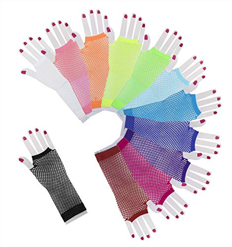 Penta Angel 12 Pairs Colored Nylon Long Fingerless Fishnet Gloves Elastic Stretch Funky Retro Mesh Wrist Gloves for Women Girls Kids 80s Theme Party Halloween Costume(Long-12 Colors) -