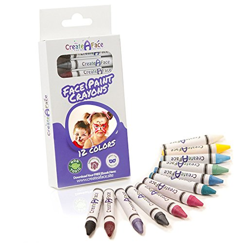 Face Paint Crayon Sticks (12 Colors) Non-Toxic, Perfect For Sensitive Skin - Vibrant Colors Easy to Apply & Easy to Wash Off - Great For Birthday Parties, Fundraising Events & Halloween.