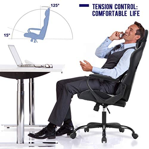 Ergonomic Office Chair PC Gaming Chair Desk Chair PU Leather Racing Chair Executive Computer Chair Swivel Rolling Lumbar Support for Women&Men, White 511LIVcEm5L