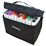 Huhuhero Dual Tips Markers, Art Twin Top Sketch Colored Pens with Carrying Case for Painting Coloring Highlighting and Underlining, Set of 80 Colors