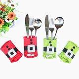 Appliances : ULAKY 4pcs/set Christmas Belt Cutlery Spoon Knife Tableware Utensil Pocket Bag Holder Dining Restaurant Table Christmas Kitchen Decor