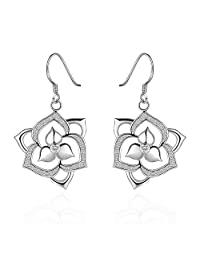 BODYA Women Lady triple leaf Crystal Rhinestone Geometric Flowers Dangle drop hook Stud Earrings
