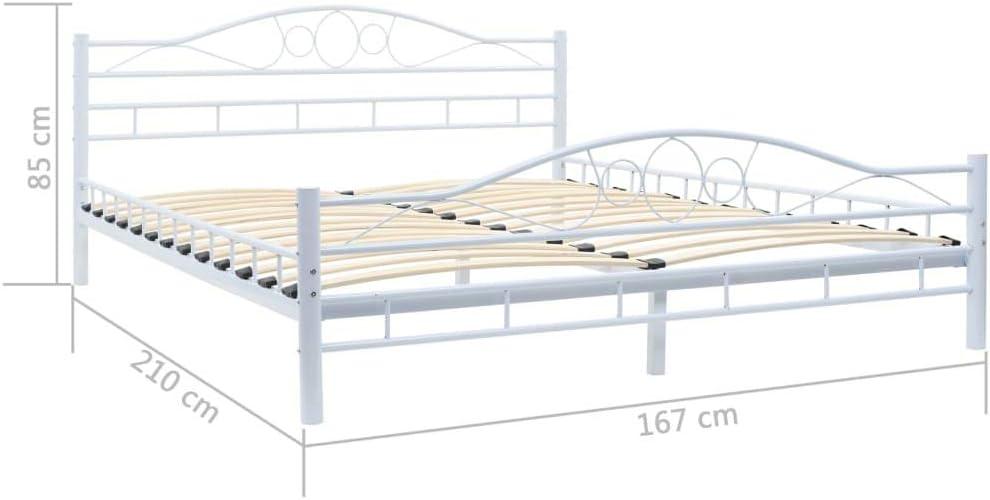 vidaXL Estructura de Cama de Metal y somier 160x200 cm Curvada Blanca