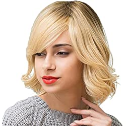 SM SunniMix Real Human Hair Short Wavy Wig With Side Bangs for Women Mix Blonde Shoulder Length Curly Hairstyle Full Bob Wig with Cap, 13Inch