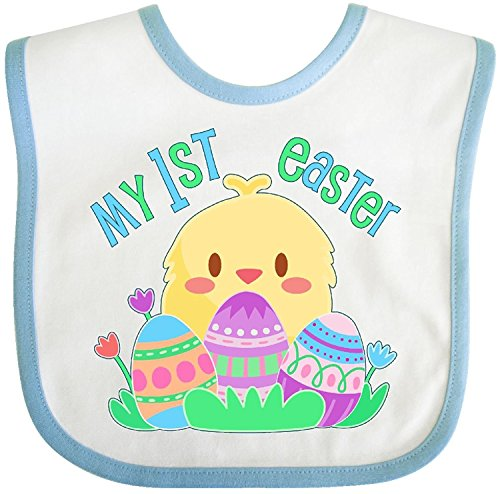 (- My First Easter- cute chick and eggs Baby Bib Cecil Beard)