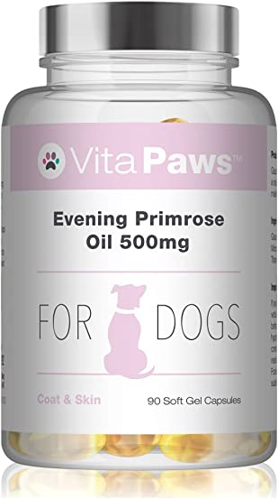 Evening Primrose Oil 500mg for Dogs by VitaPaws 90 Soft Gel Capsules for A Healthy Heart and Circulation 100 Money Back Guarantee Manufactured in The UK