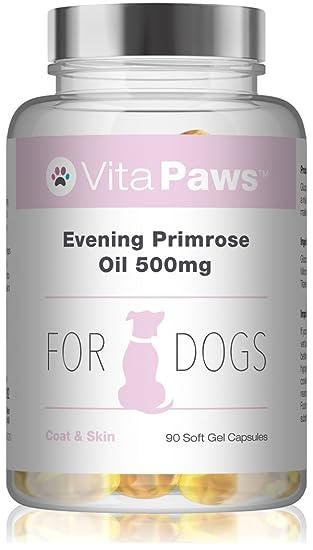 Aceite de Onagra 500mg para perros – 90 perlas – Para la salud del corazón y la circulación – Para la salud de la piel y el pelaje.