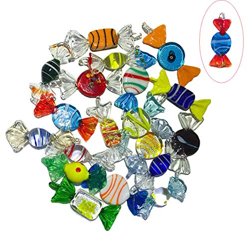 Iceyon 20pcs Vintage Murano Glass Candy Ornaments Cute Sweets for Wedding Christmas Party Decoration - Murano Ring Style