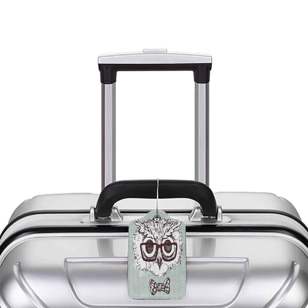 Multicolor luggage tag Owl Hand Drawn Hipster Geek Bird with Glasses Bow Tie Fun Doodle Sketch Hanging on the suitcase Almond Green White Dark Brown W2.7 x L4.6