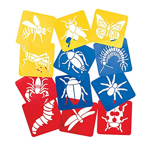 Fun Express - Big Bug Stencils - Stationery - Office Supplies - Classroom Supplies - 12 Pieces ()
