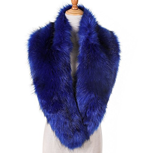 Yetagoo Women Winter Faux Fur Scarf Wrap Collar Shrug for Wedding Evening 1920s Party (Dark Blue with Apex)