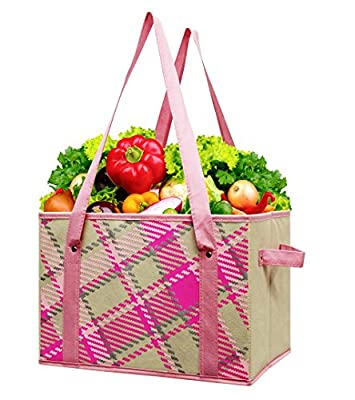 2 Pack of Pink Plaid Earthwise Fashion Deluxe Collapsible Reusable Shopping Box Bag with Reinforced Bottom
