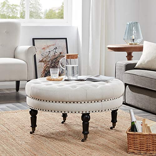 picture of BELLEZE Tufted Beige Linen 33-inch Round Accent Ottoman Foot