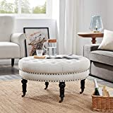 Ottoman Coffee Table with Stools Belleze Tufted Beige Linen 33-inch Round Accent Ottoman Foot Stool Large, Beige