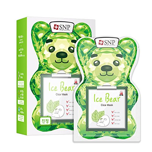 (SNP Ice Bear Cica Facial Mask, Soothing & Calming Skin - 10 Sheets)