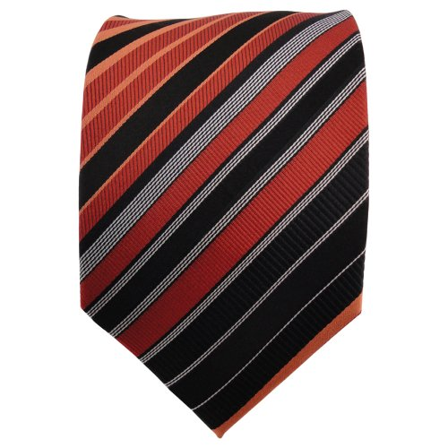 TigerTie cravate en soie orange rouge-orange dunkelorange noir argent rayé - cravate en soie