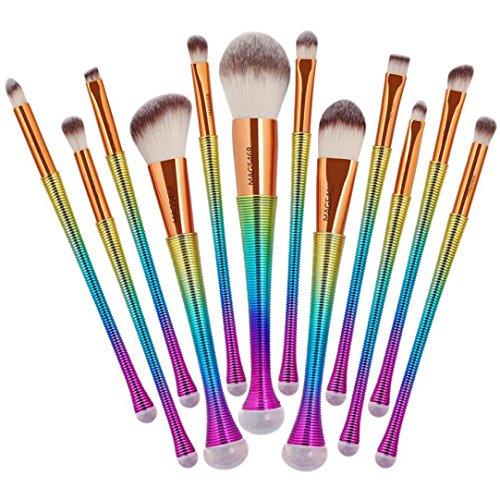 Makeup Brushes Kit Cosmetics Set, DETALLAN 12pcs Mermaid Makeup Brushes Kabuki Foundation Powder Cream Eyebrow Eyeliner Blush Cosmetic Concealer Brush