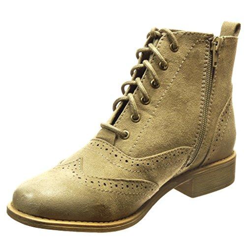 Angkorly - damen Schuhe Stiefeletten - Hohe - Spitze - Perforiert Blockabsatz 3 CM - Taupe