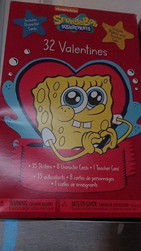 32 SpongeBob SquarePants Valentines Day Trading Cards with 8 Character Cards Designs, & Includes Teachers Card