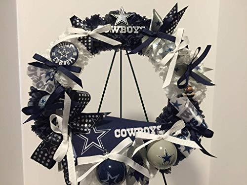 Wreath Nfl (NFL PRIDE - MEDIUM DALLAS COWBOYS WREATH 2 - COLLECTORS WREATH - MAN CAVE - SPORTS ENTHUSIAST GIFT - SPORTS BAR/RESTAURANT - BUSINESS SPORTS PRIDE - BLUE & WHITE CARNATIONS)