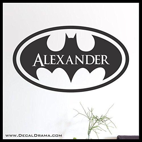 (Batman emblem PERSONALIZED Name Vinyl Decal | DC Comics Justice League Batman Superman Wonder Woman Aquaman Flash Cyborg Green Lantern Martian Manhunter | Walls Cars Laptops Tumblers | Made in the USA)