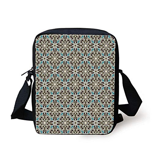 Brown and Blue,Arabesque Middle Eastern Inspired Moroccan Star Pattern Ornament,Taupe Pale Blue Brown Print Kids Crossbody Messenger Bag Purse