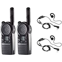 2 Pack of Motorola CLS1110 Radios with 2 Push To Talk (PTT) HKLN4604 earpieces.