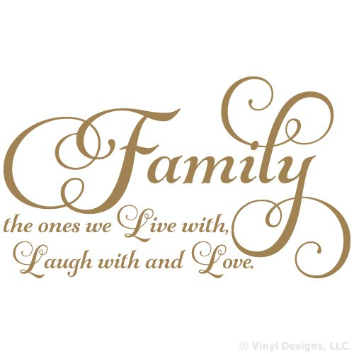 family the ones we live with laugh with and love quote vinyl wall art decal sticker removable home decor metallic gold 35 x 22