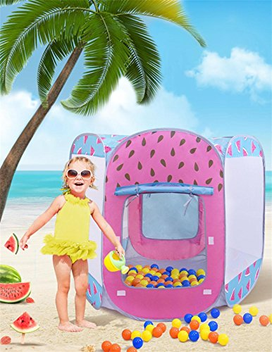 Price comparison product image SUGAR Q Breathable Extra Large Portable Folding Pop-Up Watermelon Play Tent Playhouse Play Hut Ball Pit Ball Pool,Kids Girl/Boy Birthday Gift Party Indoor/Outdoor Non-Toxic/Odor-Free with 25 Balls