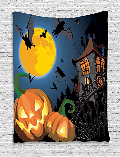Halloween Decorations Tapestry Wall Hanging by Ambesonne, Gothic Scene with Halloween Haunted House Party Theme Decor Trick or Treat for Kids, Bedroom Living Room Dorm Decor, 60WX80L Inches, (Halloween Haunted House Themes)
