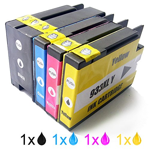 Generic Replacement Ink Cartridges Compatible With For HP 932XL BK 933XL C 933XL M 933XL Y(1B+1C+1M+1Y, Pack of 4)