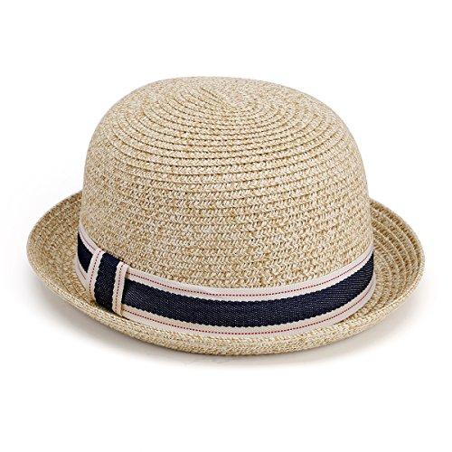 JOOWEN Multicolor Woven Pattern Summer Vintage Straw Cap Fedora Hat (Beige)