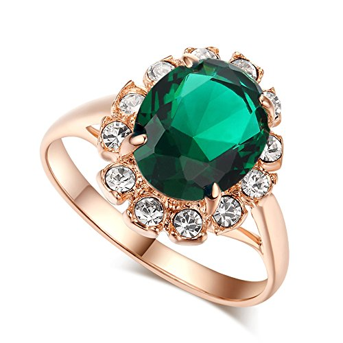 LAMOON Kate Middleton Green Emerald-color CZ Crystal Wedding Statement Cocktails 18K Gold Plated Ring (R088, (Emerald Color Cubic Zirconia Ring)